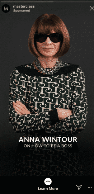 Masterclass Instagram Story with Anna Wintour.
