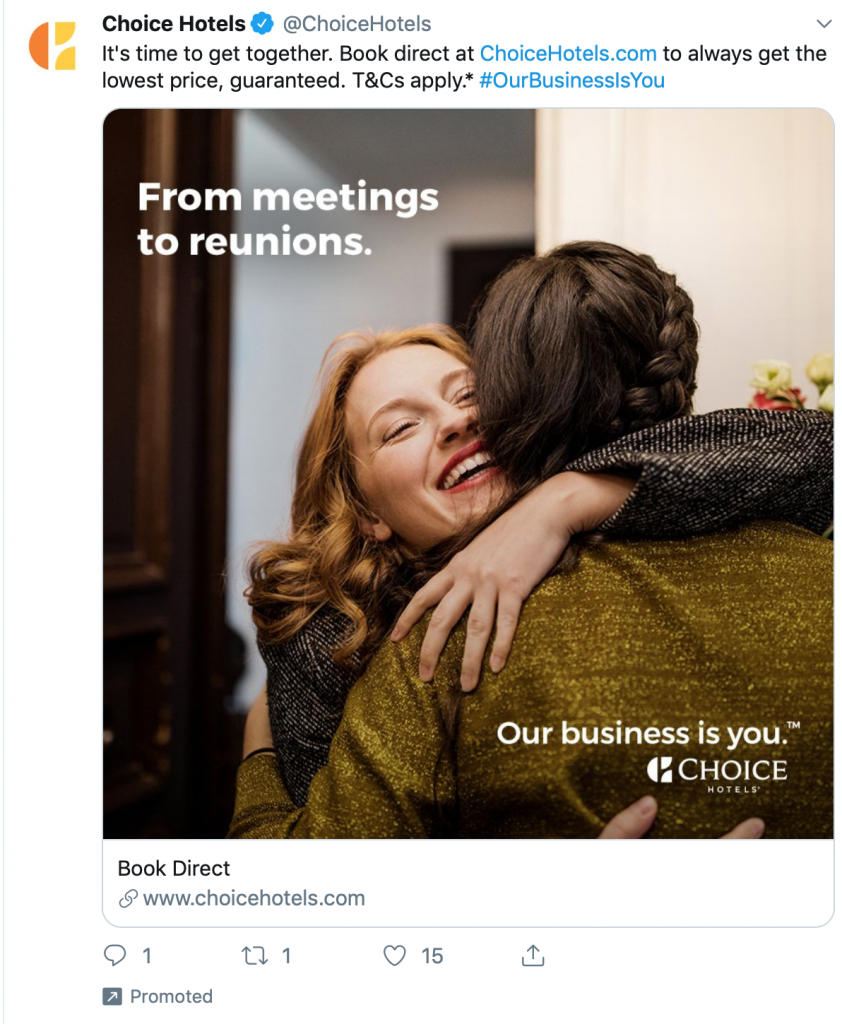 Choice Hotels tweet that tugs at the heartstrings.