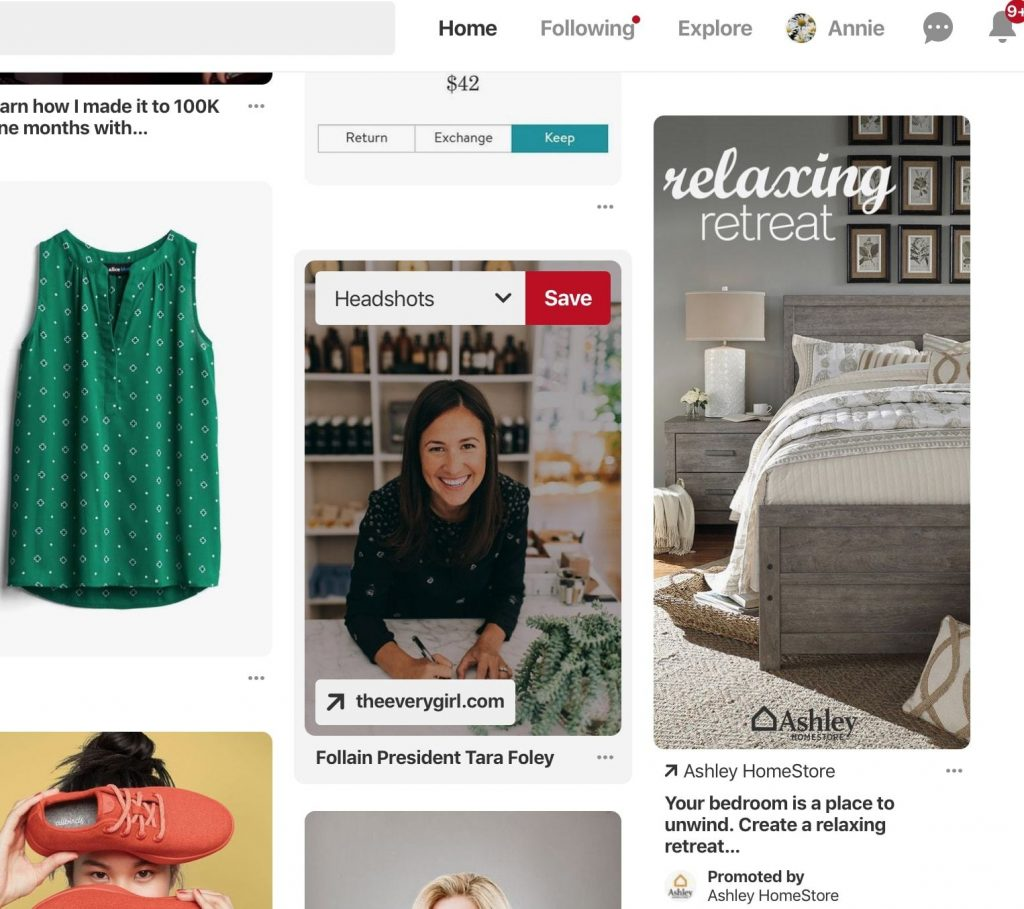 Pinterest pins and ad