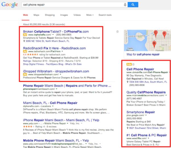 PPC example on Google.