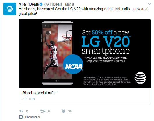 AT&T Twitter Ad for March madness.
