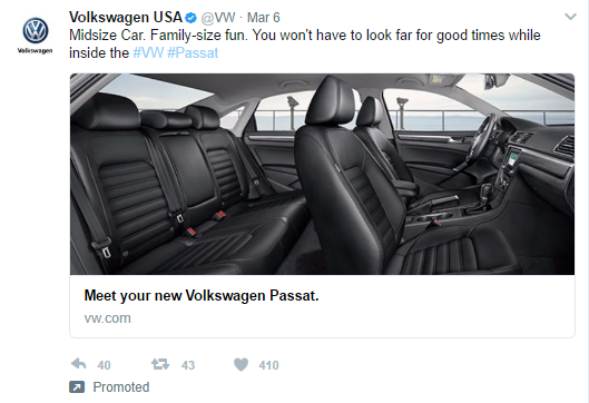 Volkswagen Twitter Ad for Passat showing the spacious interior.