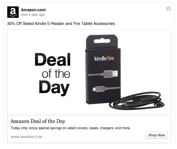 Amazon Twitter ad for a deal of the day.