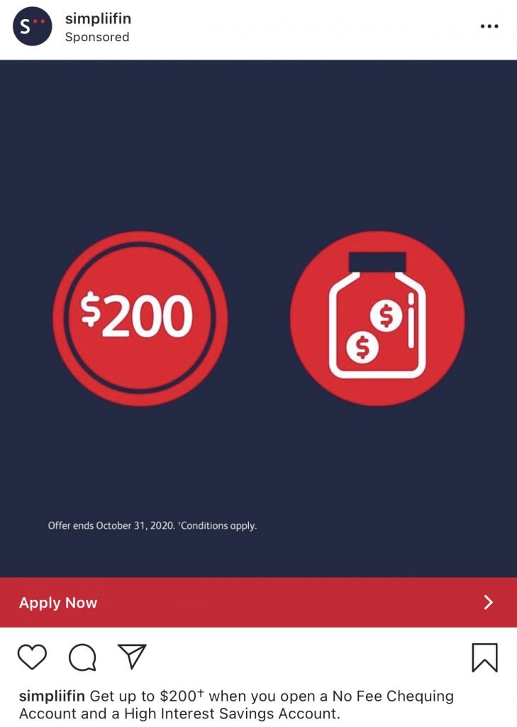 Simplii Financial Instagram ad