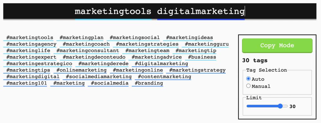 Display Purposes Hashtag Generator