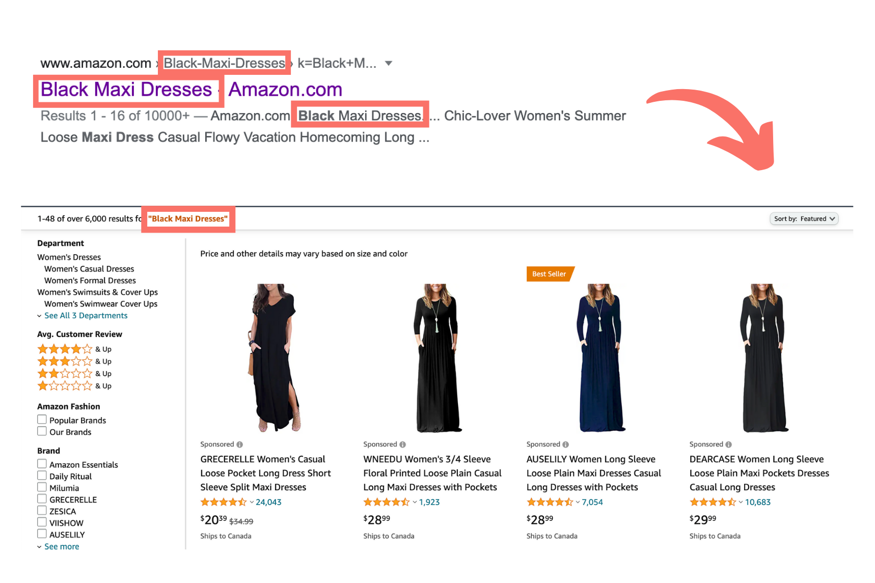 """Search result for """"Black Maxi Dress"""" showing Message Match in the title, url, description and landing page."""