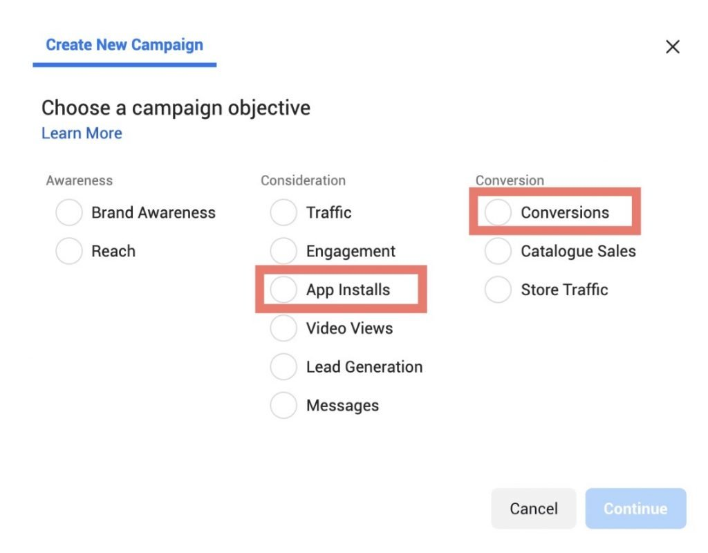 Campaign objective options with relevant mobile app ad objectives highlighted.