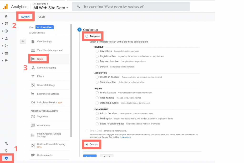process for setting up goals in google analytics