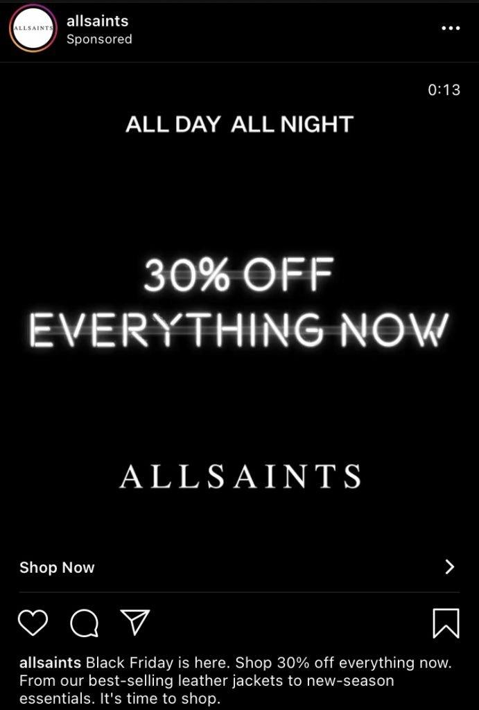 allsaints instagram ad