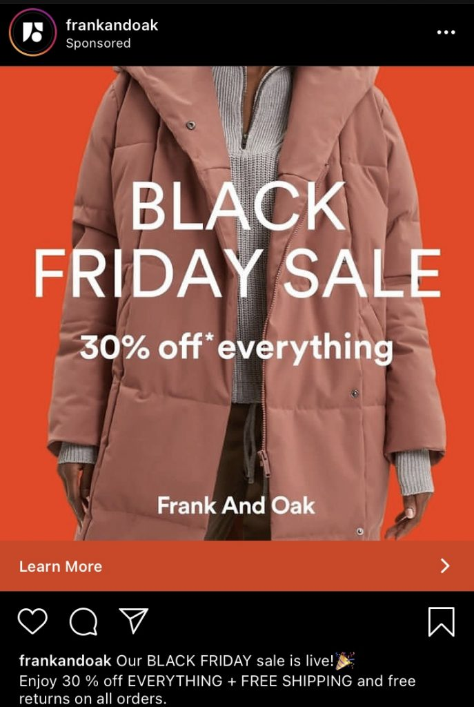 frank and oak instagram ad