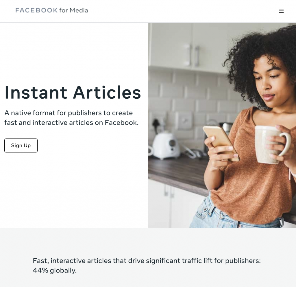 facebook instant articles website