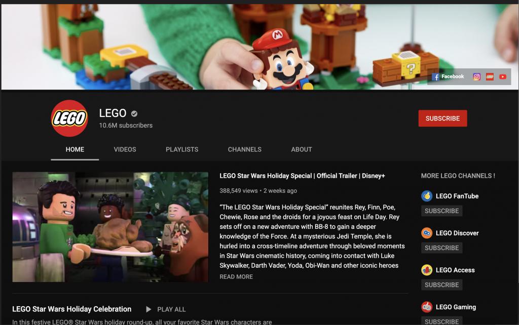 lego youtube algorithm example viewers