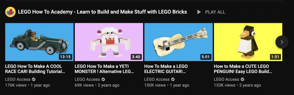 lego youtube algorithm example