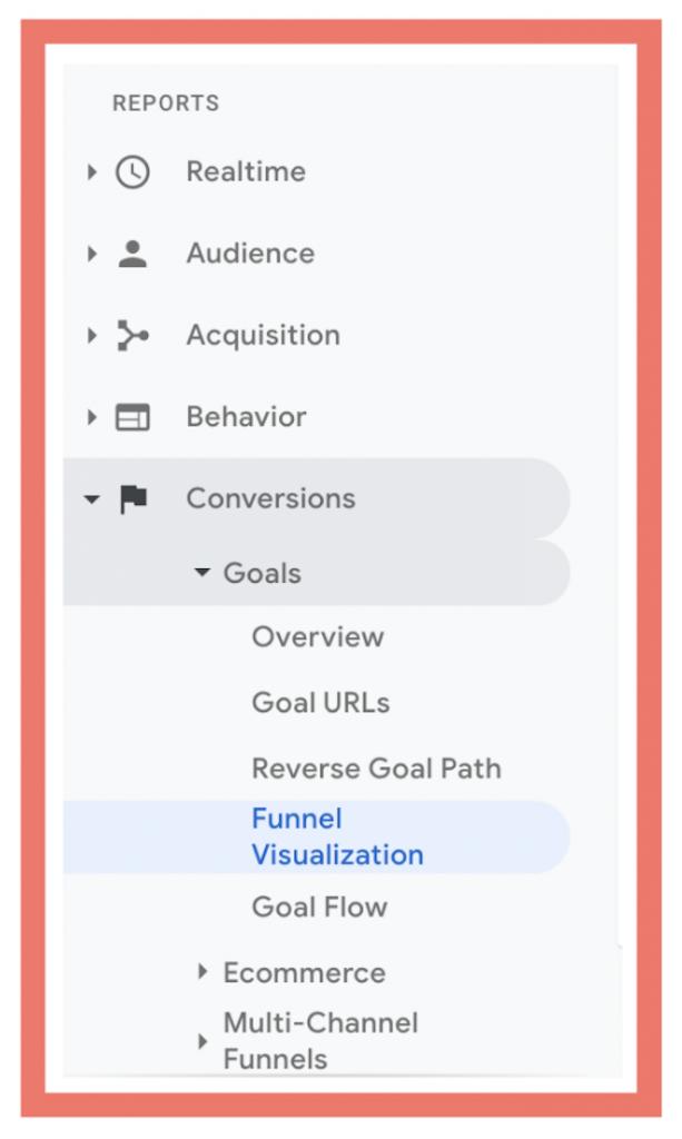 funnel visualisation menu