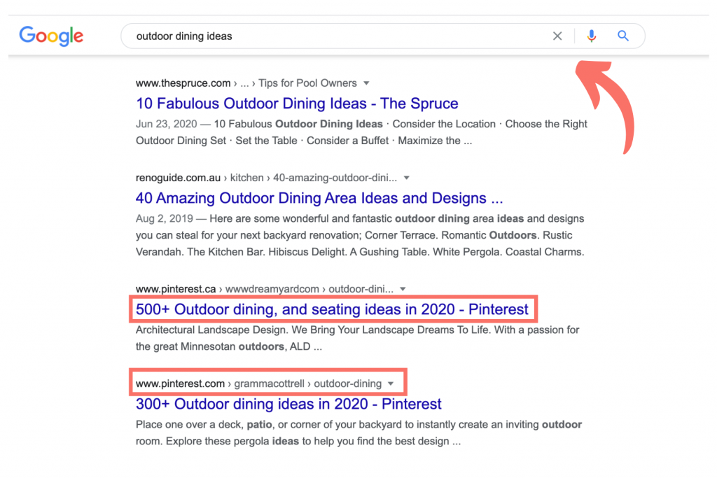 pinterest search results - promoting products
