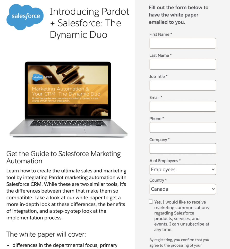 pardot email lead generation conversion example