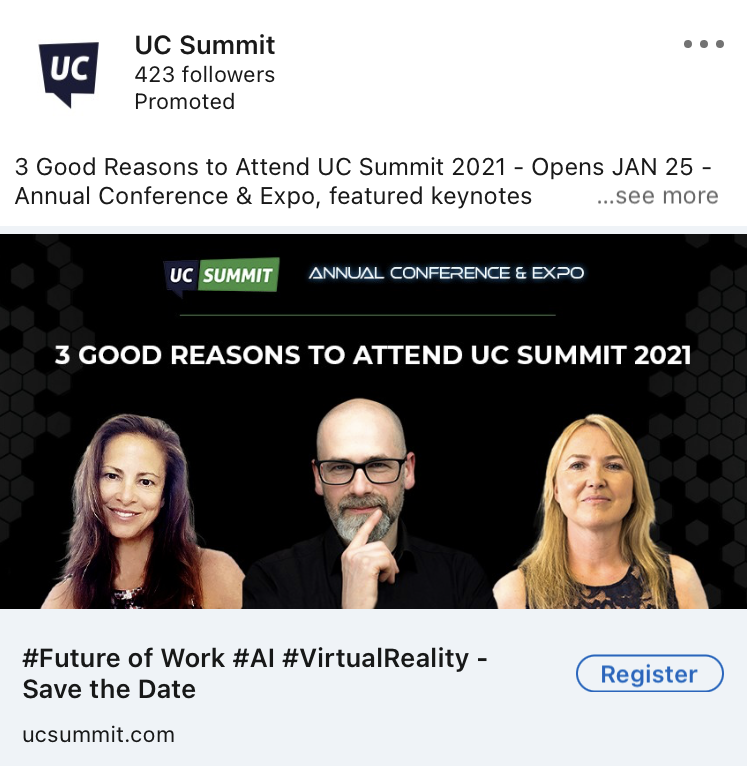 UC summit linkedin ad example