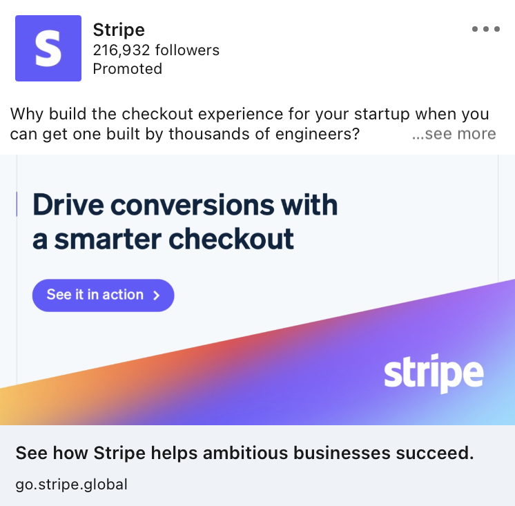 Stripe Linkedin ad example