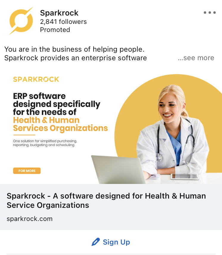 sparkrock linkedin ad example