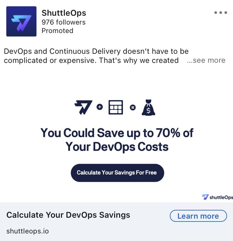 ShuttleOps Linkedin Ad example