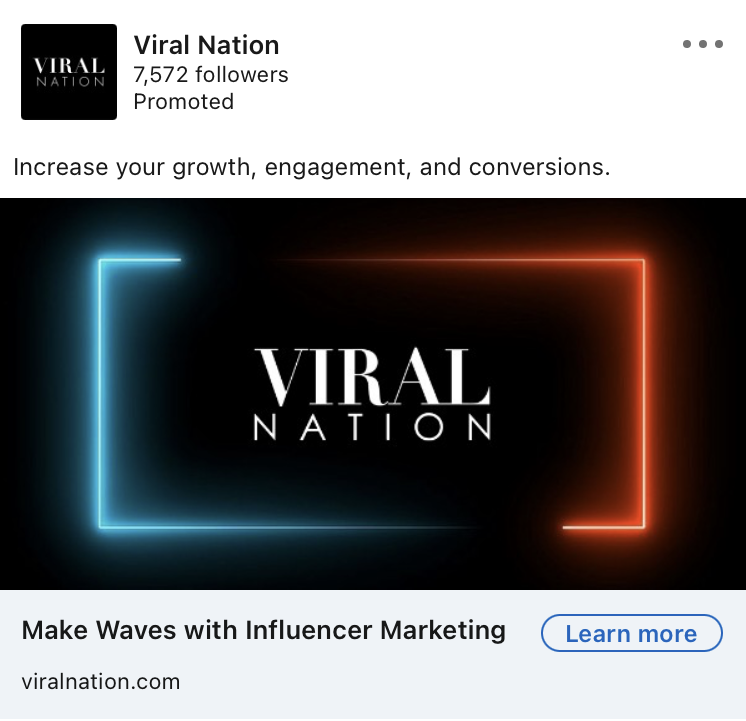 viral Nation linkedin ad example