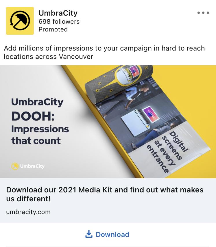 Umbracity linkedin ad example