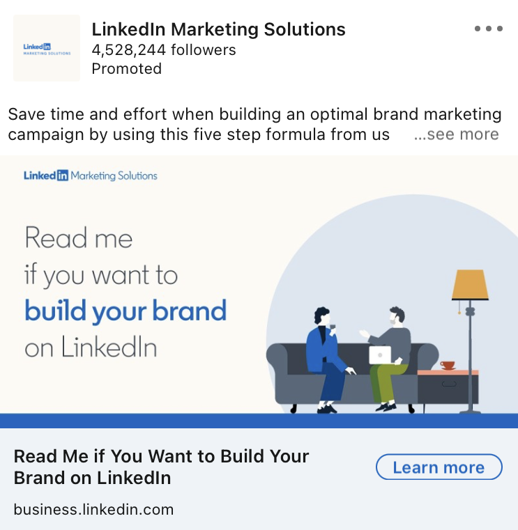Linkedin Marketing Solutions ad Example