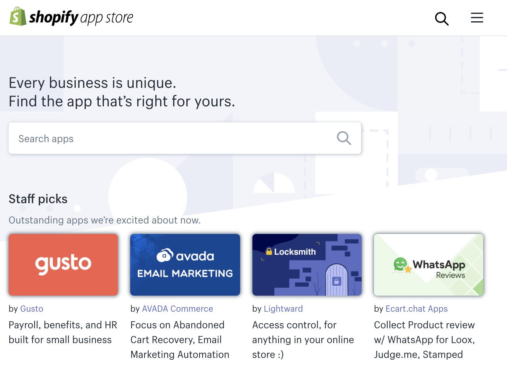 Shopify plan app store