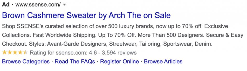 google ads fashion brand example