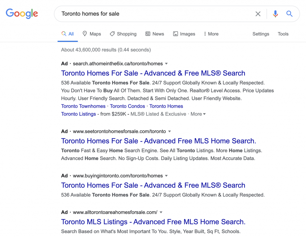 google ads real estate example