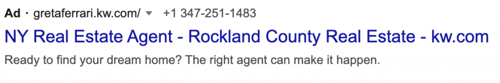 google ads example real estate