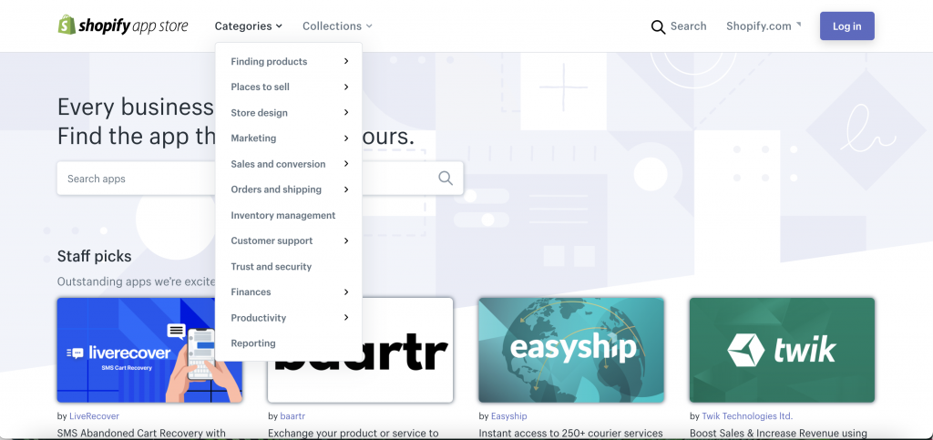 Shopify App Store Categories