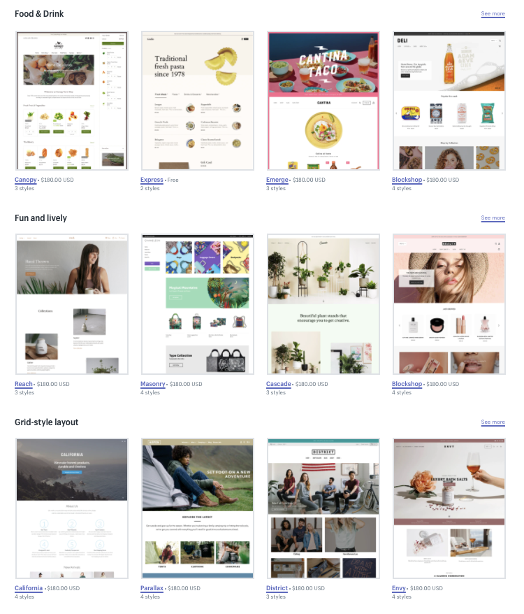 Shopify design themes