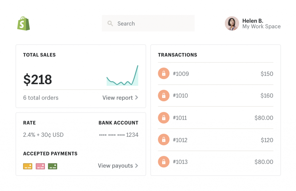 example of payments interface